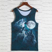 Wholesale SUMMER Wolves Cat monkey Skul Leopard Dog PRINTED model compression workout cotton men vest Fitness running vest psc sales