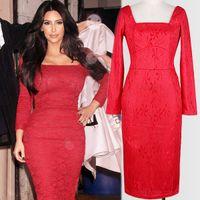 achat en gros de robes moulantes kardashian-Nouvelle Arrivée Automne Européenne Lady Kim Kardashian Même Robe De Soirée En Dentelle Rouge Mince À Manches Longues Collier Carré Bodycon Robe Formal