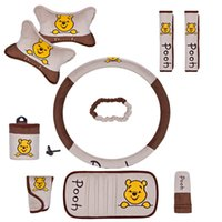 Wholesale 10pcs unit Auto Accessories Winnie the Pooh Cartoon Car Upholstery Steering wheel cover pillow car covers Universal Automotive interior