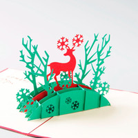 Wholesale Christmas Deer D laser cut pop up paper pop up handmade postcards custom greeting cards gifts for lover party supplies