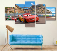art delivery - 5 Piece HD Cartoon Cars Photo Modern Home Wall Decor Canvas Picture Art HD Print Painting On Canvas Artworks Free Delivery