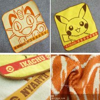 Wholesale New Women Men Poke Pikachu Handkerchief Children Kids Cartoon Action Anime Figure Jacquard Unisex Towel cm SD T01