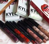 Wholesale KYLIE JENNER LIP KIT Kylie Matte Liquid Lipstick Lip Liner Colors Kylie lip Velvetine in Red Velvet Makeup set lipstick lipliner