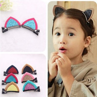 animal shaped fans - New Stereo Double Cat Ear Clip With Sequins Ears Baby Hair Clip Cute Of Fan Lovely Shape Hairpins Children Accessories