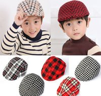 beret boy - Hot children berets boys girls checked berets kids plaid hats cotton brethable sun caps fashion baby hats mix order