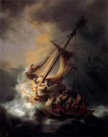 art rembrandt - Christ In The Storm On The Sea Of Gali Rembrandt van Rijn Perfect Pure Hand painted Seascape Art oil painting in any size customized