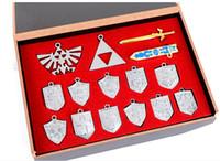 Wholesale 14pcs set The Legend of Zelda weapon sets shield cm alloy bronze key chains necklace pentants Xmas gfit