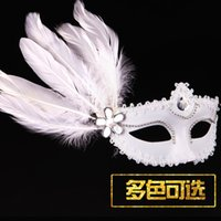 beauty free uppers - White Masquerade Womens Party Mask Crystal Gem Feather Venetian Half Face Masks Princess Beauty Mask DHL yp