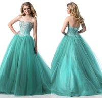 Cheap Aqua Quinceanera Dresses 2017 Formal Lace-up Back Elegant Crystals Beaded Prom Gowns Ball Gown Tulle Strapless Sweetheart Neck Custom Made