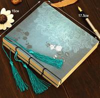 Nuevo Manual de estilo chino de la vendimia de las borlas de la serie azul de la flor que Kraft del papel del cuaderno / blanco Interior Páginas / libreta / nota almohadillas / al por mayor