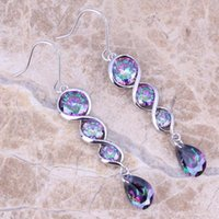 Wholesale Hot Sell Rainbow Mystic Topaz Sterling Silver Drop Dangle Earrings For Women Jewelry Bag S0206