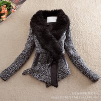 winter clothes women - New England Fall And Winter Clothes Retro Big European And American Fashion Fur Collar Woolen Jacket Slim Large Size Women