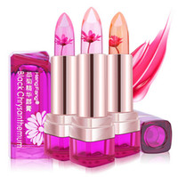 Wholesale 2016 Temperature Change Color Lip Balm Color Waterproof Long lasting Sweet Transparent Jelly Flower Pink Moisturizer Lipstick