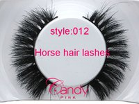 Wholesale 012 Lady Black Real Horse Hair Thick Fake Eye Lashes False Eyelashes false lashes natural Horse hair natural short thick cross messy
