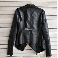 Wholesale 2016 PU Leather Jacket Women Clothes Faux Turn Down Collor Female Jackets Womens Slim Coats Plus Size