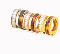 Wholesale For Women And Men Wide Resin Version Letter Zircon Stainless Steel Ring k Rose Gold Silver Ring