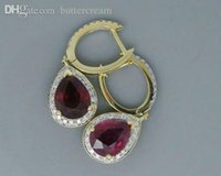Cheap Wholesale-Pear 6x8mm Solid 3.62Ct 14Kt Yellow Gold Natural Heated Blood Red Ruby Earrings