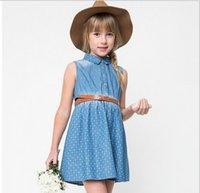 big jean wholesale - Junior Denim Floral Dresses Big kids girls Fashion Jean wash blue Dress Teenager Autumn Clothes Children s Christmas clothing