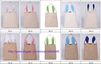 Wholesale 20pcs Cotton Lined Linen Canvas Easter Gift Bag Rabbit Bunny Ear Shopping Tote Bag Bunny Ears bag Baby Kids