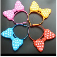 Wholesale 2016 new Hot glowing bow hair hoop flash card Minnie headband concert hair accessories Children s toys
