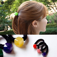 Wholesale square blocks Jelly color hairbands woman hair tie girls fashion Hair circle durable use directly from factory