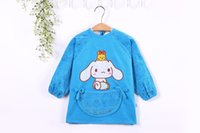 Wholesale 100 cotton years kids any season dinner clothing long sleeve anti dirty cartoon bib overclothes burp baby eating clothes soft