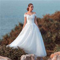 vogue wedding dress - Lace Wedding Dresses Off Shoulder A Line Lace Flowers Tulle Floor Length Bridal Gowns Vogue Design Design
