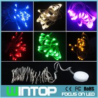 Wholesale 8Colors m leds Silver Wire Tiny Led String Fairy Christmas Lights with CR2032 Button Battery Box for Holiday Party