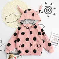 acrylic dots - Hug Me Girls Jacket Christmas Kids Clothing Autumn Cute Cartoon Polka Dot Coat Long Sleeve Fashion Outerwear ER