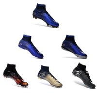 Wholesale 100 original Mercurial Superfly FG Kids Soccer Shoes Boots CR7 Cleats Laser Youth Women Boy s Football Sneakers Eur Size