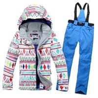 Wholesale new winter women outdoor ski suit sets ski jacket and pants windproof waterproof thermal