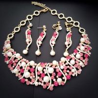 Wholesale purple bridal Jewelry set crystal necklace earrings K GP zinc alloy brand Jewelry outlets rihood Jewelry valentine day gift NJ