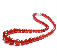 beaded curb - Fashion Women s necklace Customized Wide Mens Chain Necklace Curb Cuban Link Silver Tone Stainless Steel Necklace Jewelry Red agate