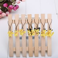 action figure bags - Cute Poke Pikachu Keychain PVC Action Figure Keychain Mobile Phone Strap Bag Strap For Kids Gift set