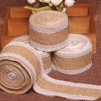 Wholesale HOT SALE vintage wedding decoration m Jute Burlap Hessian Ribbon with Lace table centerpieces for wedding rustic wedding decor
