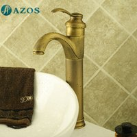 antique bathroom furniture - AZOS Bathroom Basin Tap Brass Antique Brass Color Single Hole Deck Mount Hot Cold Mixer Toilet Sink Faucet Furniture Replacement MPDKZ013A