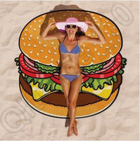 baby bath cover - 100pcs CCA4402 High Quality Design Round Donut Pizza Hamburger Towel Beach Cover Ups Sexy Beach Towel Chiffon Swimsuit Cover Up Yoga Mat