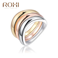 Wholesale ROXI TOP Gold Plated Quality Round K White Gold Plated Ring Jewelry Crystals From Austria Full Sizes new style