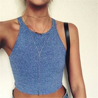 Wholesale Melville Off Shoulder Knitted Bustier Crop Top Women Round Neck Elastic Tube Tank Tops Beach Sexy Blouse GT18
