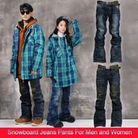 Wholesale Hot Outdoor Sports Snowboard Jeans Pants Men Winter Waterproof Thermal Thick Pants Trousers For Women Pantalon Ski