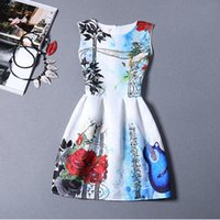 Wholesale Sleeveless Casual Style Womens Dresses with Zipper Colorful Floral and Guitar Printed Empire A Line Peplum for Ladies Dresses