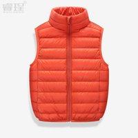 Wholesale 2016 New Winter Baby Kids White Duck Down Jacket Fashion Boy Girls Clothing Vest Windproof Warm Black Blue Children s Vests Size CM CM