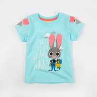 Wholesale Zootopia Cute Baby Cotton Tshirts Judy Hopps Baby Kids Short Sleeve Cartoon Tee Shirt Kids Summer Clothes for yr Free DHL