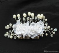 accent plates - Wedding Hand Jewrlry Bridal Comb wtih Pearls and Crystal Accents for Women White Farbic Flower Hair Combs Clips piece