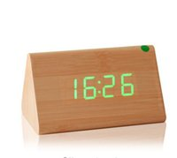 Wholesale 2016 fashion clolorful Wooden alarm clock Sounds control led electronic alarm clock Night glowing reloj despertador