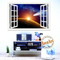 bathroom life - Outer Space Stickers Planet Galaxy Wall Papers Home Decor Living Room D Window Scenery Wall Sticker Home Decals Mural Art x28inch