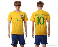 Wholesale brazil national team soccer jersey shirt uniform home away kits jerseys man kit uniforms men with shorts sets neymar jr set