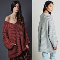 basic knit stitches - Sexy V neck Loose Pullover Women Basic Casual Winter Knitwear Autumn Long Sweater Soft Jumpers Pocket Outwear Cashmere FS0735
