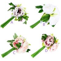 Wholesale False Peony Bouquet Including Head Flowers Bloom Silk Artificial Festive Party Wedding Floral Flowers Home Garden