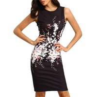 Wholesale 2016 New Summer Style Bodycon Dresses Vintage Ladies Sexy Fitness Black Floral Print Sleeveless Crew Neck Dress Package Hip Pencil Vestidos